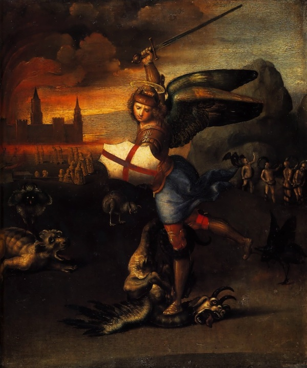 """Saint Michael and the Dragon"" by Raphael (1483-1520) (click to enlarge)"