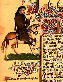 Geoffrey Chaucer (ca. 1343-1400) as a pilgrim from the Ellesmere manuscript