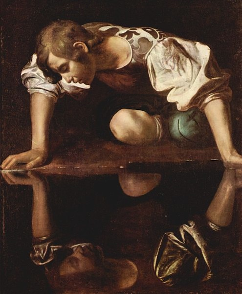 Narcissus by Michelangelo Merisi da Caravaggio, 1594-96 (click to enlarge)