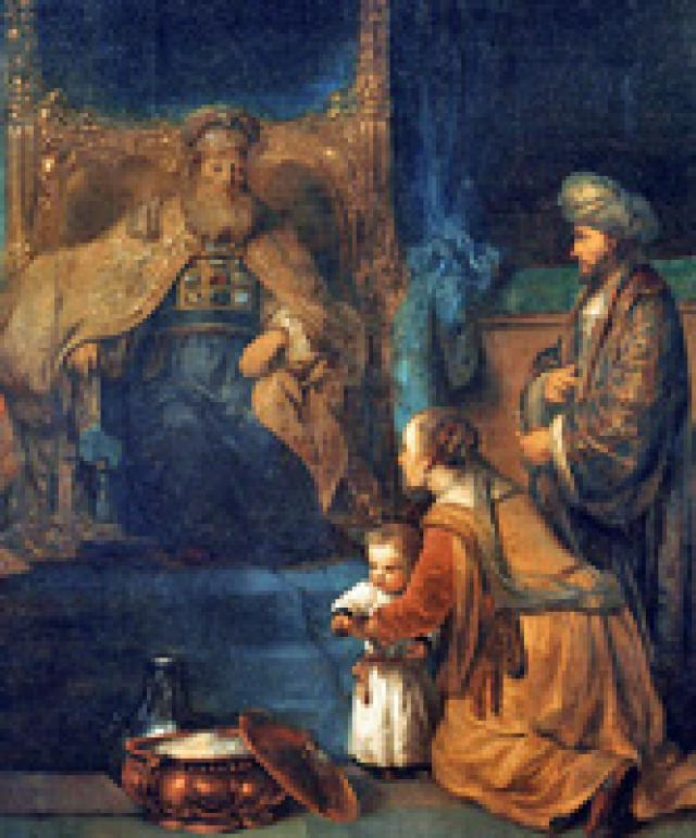 """Hannah presents her son Samuel to the priest Eli"" by Gerbrand van den Eeckhout (ca 1665)"