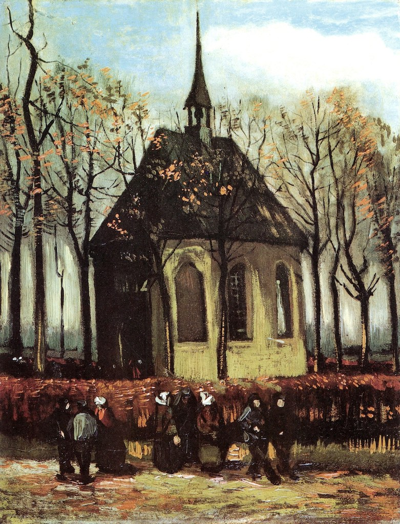 """Congregation Leaving the Reformed Church in Nuenen"" by Vincent van Gogh, 1884 (click image to enlarge)"