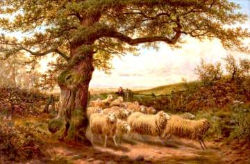 """Sheep and Shepherd"" by James Walsham Baldock, 1895 (click image to enlarge)"