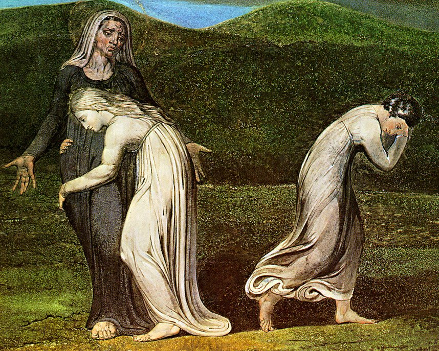 """Naomi Entreating Ruth and Orpah to Return to the Land of Moab"" by William Blake, 1795 (click image to enlarge)"