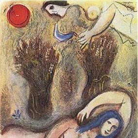 Boaz Awakes and Finds Ruth at his Feet, by Marc Chagall