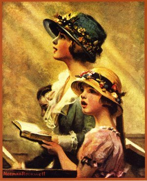 Mother and daughter singing in church, Norman Rockwell